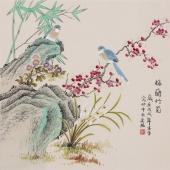 北京美协凌雪四尺斗方工笔画《梅兰竹菊》