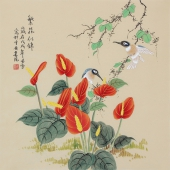 北京美协凌雪四尺斗方工笔画《繁花似锦》