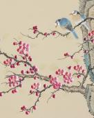 北京美协凌雪四尺斗方工笔画《梅花报春》