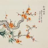 北京美协凌雪四尺斗方工笔画《红梅报春》