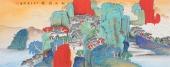 许景同 六尺重彩国画山水《松山雅韵》 广西美术家协会会员