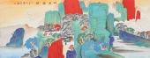 许景同 六尺重彩国画山水《松泉雅韵》 广西美术家协会会员