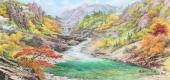朝鲜一级艺术家东明写意山水画《金刚山的秋天》