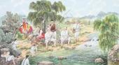 朝鲜一级艺术家哲明写意民俗画《溪边垂钓》