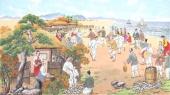 朝鲜一级艺术家哲明写意民俗画《凤竹游戏》