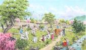 朝鲜一级艺术家金申姬写意民俗画《故乡的春天》