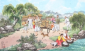 朝鲜一级艺术家哲明写意民俗画《丰收》