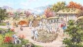 朝鲜一级艺术家金申姬写意民俗画《脱谷》