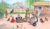 朝鲜一级艺术家蔡国四尺民俗画《做大豆酱的一天》