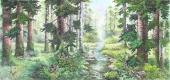 朝鲜一级艺术家崔申写意国画山水《白头森林》