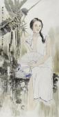 【已售】河南美协宋廷君四尺竖幅人物画《西江月》