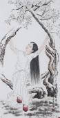 【已售】人物画名家宋廷君四尺竖幅人物画《梨花一枝春带雨》