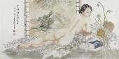 【已售】河南美协宋廷君四尺横幅人物画《罗帐暗淡灯光结》