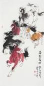 河南美协杨西沐三尺竖幅八骏图《马到成功》