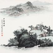 【已售】广西美协张哲礼四尺斗方写意山水画《平湖间棹》