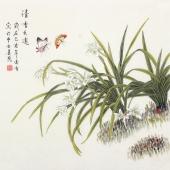 北京中央美院凌雪四尺斗方工笔画《清香久远》