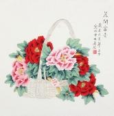 【已售】北京中央美院凌雪四尺斗方工笔画《花开富贵》