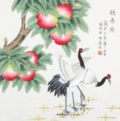 北京中央美院凌雪四尺斗方工笔画《贺寿图》