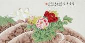 北京中央美院凌雪三尺横幅工笔画《富贵平安》