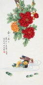 【已售】北京中央美院凌雪三尺竖幅工笔画《和和美美》