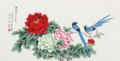 北京中央美院凌雪三尺横幅工笔画《花开富贵》