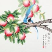 北京中央美院凌雪四尺斗方工笔画《福寿康宁》