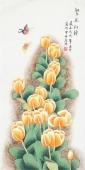 【已售】北京中央美院凌雪三尺竖幅工笔画《繁花似锦》