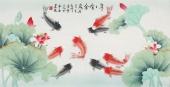 北京中央美院凌雪三尺横幅工笔画《年年有余》