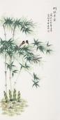【已售】北京中央美院凌雪四尺竖幅工笔画《竹报平安》