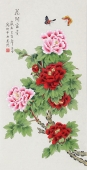 【已售】北京中央美院凌雪三尺横竖幅工笔画《花开富贵》