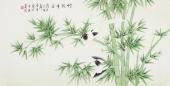 北京中央美院凌雪四尺横幅工笔画《竹报平安》
