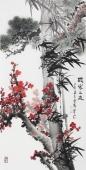 广西美协石云轩四尺竖幅写意国画鱼竹子《岁寒三友》