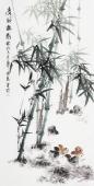 广西美协石云轩四尺竖幅写意国画鱼竹子《清风摇影》