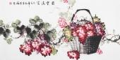 【已售】赵君梅四尺横幅国画葡萄《国宝满框》