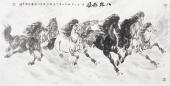 江南画马名家杨主旺四尺横幅八骏图《八骏雄风》