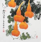 【已售】广西美协黄艺四尺斗方葫芦《福禄满堂》