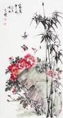 河北美协王学增三尺竖幅写意花鸟《富贵平安》