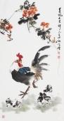 河北美协王学增三尺竖幅写意花鸟《春风大吉祥》