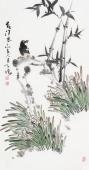 河北美协王学增三尺竖幅写意花鸟《春消息》