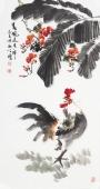 河北美协王学增三尺竖幅写意花鸟《春风送吉祥》