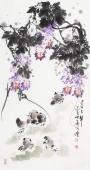 河北美协王学增三尺竖幅写意花鸟《春之声》