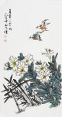 河北美协王学增三尺竖幅写意花鸟《百年和好》