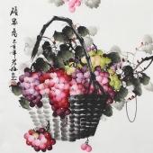 赵君梅四尺斗方国画葡萄《硕果图》