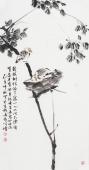 河北美协王学增三尺竖幅写意花鸟