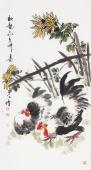 河北美协王学增三尺竖幅写意花鸟《秋艳》
