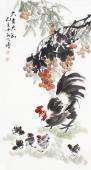 【已售】河北美协王学增三尺竖幅写意花鸟《大吉大利》