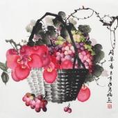 【已售】赵君梅四尺斗方国画葡萄苹果《硕果图》