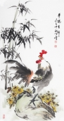 河北美协王学增三尺竖幅写意花鸟《平安吉祥》