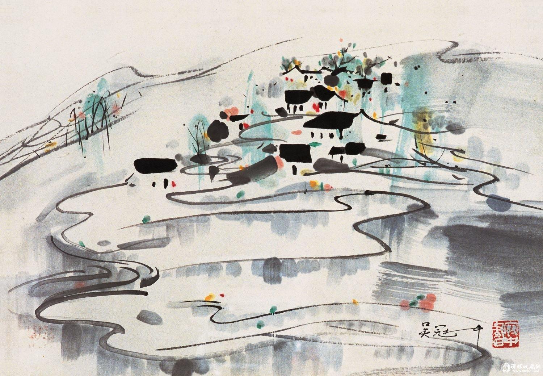 让人惊叹的吴冠中水墨壁画作品